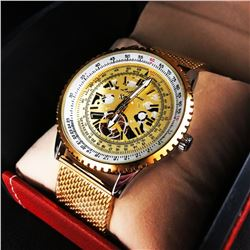 Men's LA Banus German Made Skeleton Dial Watch With Shark Mesh Gold Stainless Steel Strap.