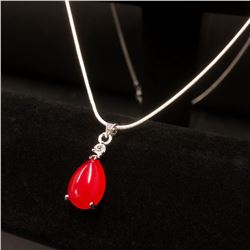 Sterling Silver 925 Necklace Red Jade Pendant