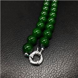Asian Green Jade Beaded Necklace