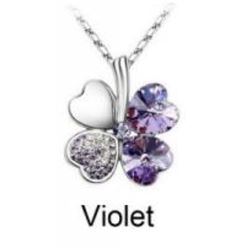 Austrian Crystal with Swarovski Elements - Clover hearts-Violet