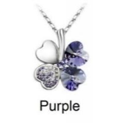 Austrian Crystal with Swarovski Elements - Clover hearts-Purple