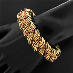 TIFFANY & CO. 18k Gold Wire 3.60 ctw Fine Round Ruby Statement Bracelet