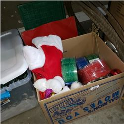 BOX OF NEW CHRISTMAS DECOR,   CHRISTMAS STAND, AND FOLDING CRATES