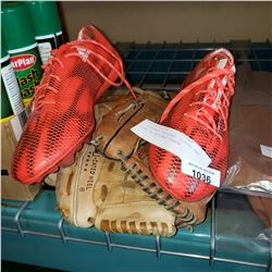 2 VINTAGE BASEBALL GLOVES AND SIZE 11 ADIDAS CLEATS