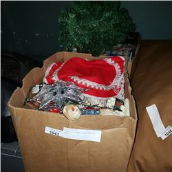 2 BOXES OF XMAS DECOR AND 2FT TREE