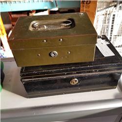 2 METAL VINTAGE BALLOT BOXES - 1 W/ KEY