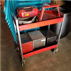 RED ROLLING METAL SHOP CART