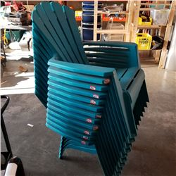 12 STACKING TEAL ADIRONDACK PATIO CHAIRS