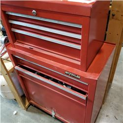 RED WATERLOO ROLLING SHOP CABINET W/ CONTENTS