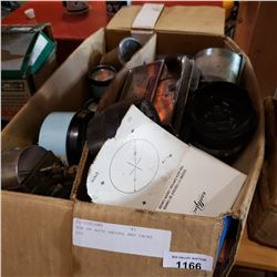 BOX OF AUTO GAUGES AND TACHS ETC