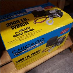 CHIGACO ELECTRIC 3000LB WINCH W/ REMOTE - AS NEW