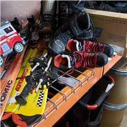 LOT OF SKIS, BOOTS, AND SKATES