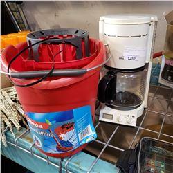 MOP BUCKET AND BRAUN COFFEE MAKER