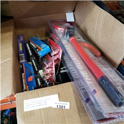 BOX OF NEW PRESSURE GAUGES, SHARPENING STONES, AND PRECISION SCREWDRIVERS