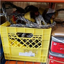 YELLOW CRATE OF ROP, CLIPS, HARNESS