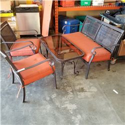 4PC METAL PATIO SET, BENCH, 2 CHAIRS, AND COFFEE TABLE