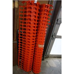 2 ROLLS OF ORANGE PLASTIC FENCING