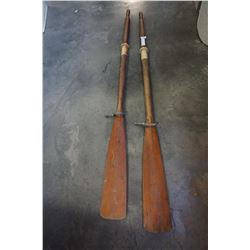 "PAIR OF 66"" WOODEN BOAT OARS"