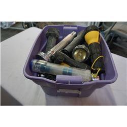 PURPLE BIN OF FLASHLIGHTS