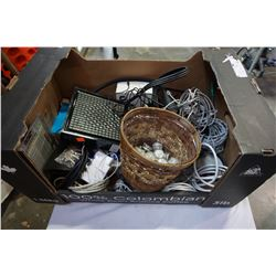 BOX OF COMPUTER WIRE, ELECTRONICS, ETC