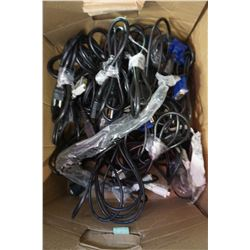BOX LOT OF PC CABLES AND MICE FOR COMPUTERS