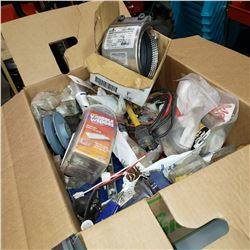 BOX OF SHOP SUPPLIES AND MAINTENANCE CLAMP