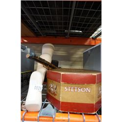 STETSON HAT BOX, 2 WOOD CANES, DISPLAY LEG