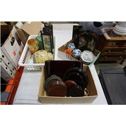 2 TRAYS OF EASTERN COLLECTABLES, GINIGER JARS, MINI ROOM DIVIDERS