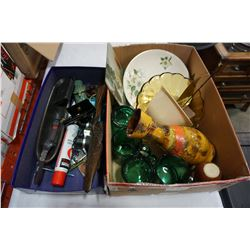 BOX OF ENGLISH PLATES, GERMAN VASE, AND COLLECTIBLES
