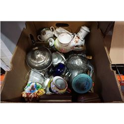 BOX OF ESTATE COLLECTIBLES W/ ROYAL ALBERT ETC