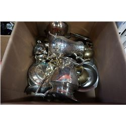 BOX OF SILVER PLATE SERVING PIECES, JUG, AND COFFEE POT