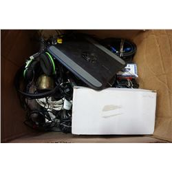 LARGE BOX OF ELECTRONICS, HEADPHONES, CABLES, ETC