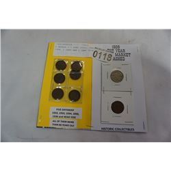 6 GEORGE V 1 CENT COINS, AND 1929  1 CENT AND 5 CENT COINS