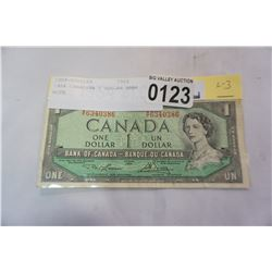 1954 CANADIAN 1 DOLLAR BANK NOTE