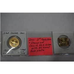 2001 3c MEDALLION AND STAMP SET, COIN IS 925 SILVER WITH 24K GOLD PLATE