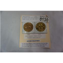WILDWOOD ELKS GOLD PLATED TRADE COINS 1995 AND 2000