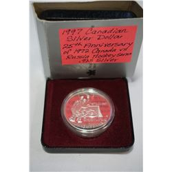 1997 CANADIAN SILVER DOLLAR 25TH ANNIVERSARY 1972 CANADA VS RUSSIA HOCKEY SERIES .925 SILVER