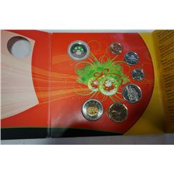 2009 ROYAL CANADIAN MINT HOLIDAY GIFT SET 2009 COIN SET WITH RARE SANTA QUARTER, ONLY IN THIS SET