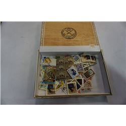 CIGAR BOX OF USED AND UN-USED STAMPS