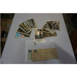 LOT OF VINTAGE POSTCARDS AND 1940s CHEQUES W/ STAMPS