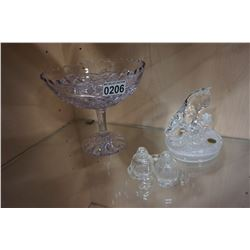 AMYTHYST GLASS PEDESTAL BOWL AND GLASS SALT AND PEPPER AND CAT FIGURE