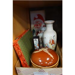 SILK FAN, SANTA KITE, BUDDAH FIGURE, VASE, AND BOWL