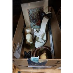 BOX OF COLLECTIBLE FIGURES AND ROBERT BATEMAN PRINT