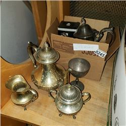 LOT OF SILVER PLATED TEA POTS, BRASS TEA POT, AND CREAM AND SUGAR