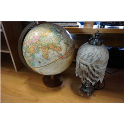 METAL TABLE LAMP W/ GLASS SHADE AND GLOBEMASTER GLOBE