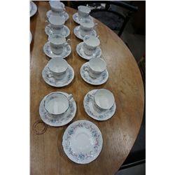 10 PARAGON CHINA ROMANCE CUPS AND 12 SAUCERS, MADE IN ENGLAND