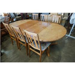 ROUND TEAK DINING TABLE W/ 6 CHAIRS