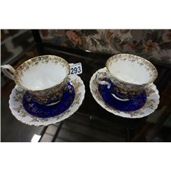 2 ROYAL ALBERT TEA CUPS AND SAUCERS