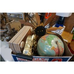 GLOBE AND BOX OF ESTATE GOODS