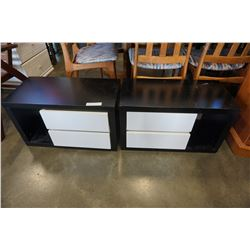 PAIR OF BLACK AND WHITE 2 DRAWER END TABLES